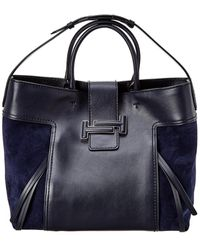 Tod's Double T Large Leather & Suede Tote - Blue