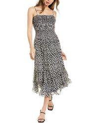 Rebecca Taylor Star Smocked Silk-blend Midi Dress - Black
