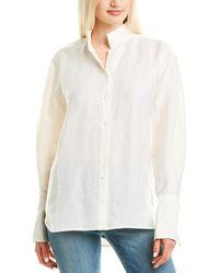 FRAME Clean Collared Linen-blend Shirt - White