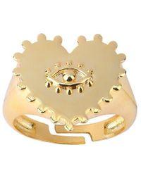 Gabi Rielle Love Is Declared 14k Over Silver Evil Eye Adjustable Ring - Metallic