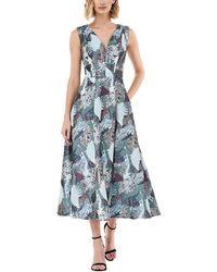 Kay Unger Printed Jacquard V-neck Sleeveless Midi Fit-&-flare Dress - Blue