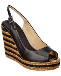 Jimmy Choo - Prova Leather Slingback Braided Stripe Wedge - Lyst
