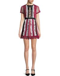 Self-Portrait - Lace Embroidery Flare Dress - Lyst