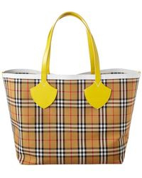 Burberry - Reversible Vintage Check Canvas & Leather Tote - Lyst