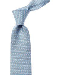 Ferragamo Light Blue Whale Silk Tie