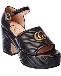 Gucci Marmont Matelasse Leather Platform Sandal - Black