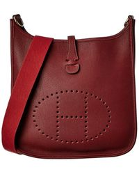 Hermès Burgundy Clemence Leather Evelyne I Pm - Red