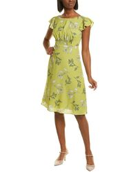 Adrianna Papell Tranquil Leaves A-line Dress - Green
