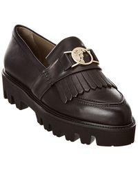 Versace Leather Platform Loafer - Black