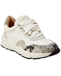 Joie Jamson Snake-embossed Leather Trainer - White