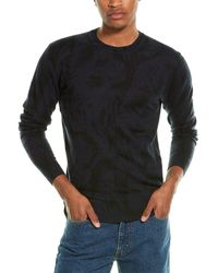7 For All Mankind 7 For All Mankind Tonal Palm Linen & Wool-blend Crewneck Jumper - Blue