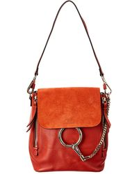 Chloé Faye Small Leather & Suede Backpack - Red
