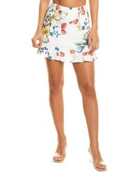 Dance & Marvel Floral Mini Skirt - White