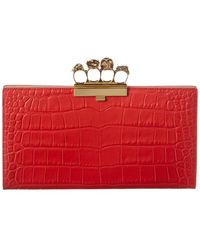 Alexander McQueen Punk Four-ring Croc-embossed Leather Clutch - Red