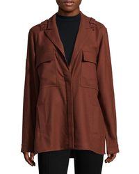 Tibi Owen Twill Shirt Jacket - Brown