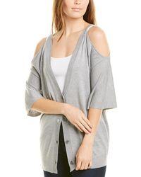 Halston Cold-shoulder Cashmere-blend Sweater - Gray