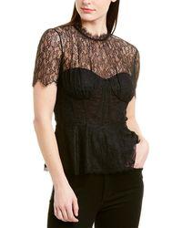 Jonathan Simkhai Mixed Lace Bustier Top - Black