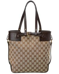 5d3d78a1a3cd Gucci - Brown GG Canvas   Leather Medium Buckle Tote - Lyst