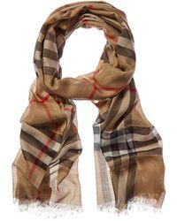 Burberry Lightweight Check Wool & Silk-blend Scarf - Brown