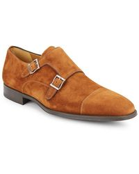 Saks Fifth Avenue - By Magnanni Suede Monk Strap Shoes - Lyst