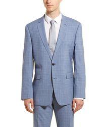 Vince Camuto Medium Blue Plaid Slim Fit 2-piece Suit