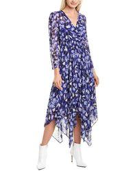 Anne Klein Chiffon Midi Dress - Blue
