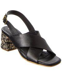 Kaanas Java Leather Sandal - Black