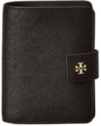 Tory Burch Emerson Leather French Fold Wallet - Black