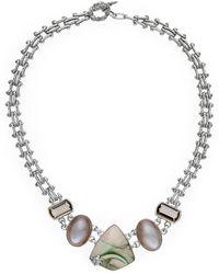 Stephen Dweck One Of A Kind Silver Gemstone Necklace - Metallic