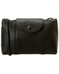 Longchamp Le Pliage Cuir Leather Crossbody - Black