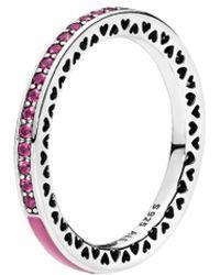 PANDORA Silver & Cerise Pink Crystal Radiant Hearts Ring - Metallic