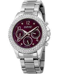 August Steiner Stainless Steel Diamond Watch - Metallic