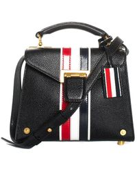 Thom Browne Black Cricket Stripe Leather Mrs. Thom Mini Bag