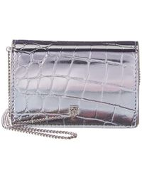 Burberry Jessie Metallic Croc-embossed Leather Card Case On Chain