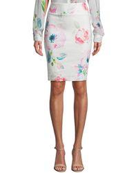 Nicole Miller Linen-blend Skirt - White