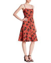 SUNO Flare Hem Tank Dress - Red