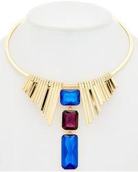 Trina Turk Neo Goth 14k Plated Frontal Necklace - Metallic