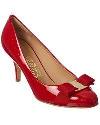 Ferragamo Vara Bow Patent Pump - Red