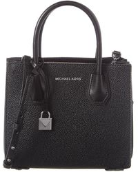 Michael Kors Mercer Pebbled Leather Accordion Crossbody Bag - Black