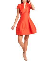 Halston Faille Silk-blend Dress - Red
