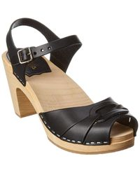 Swedish Hasbeens Peep Toe Super High Leather Sandal - Black