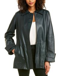 Vince Belted Leather Trench Coat - Multicolour