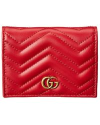 Gucci GG Marmont Leather Card Case - Red
