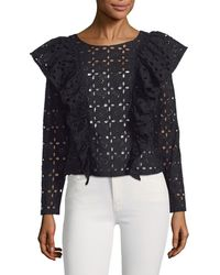 Plenty by Tracy Reese - Eyelet Ruffle Blouse - Lyst