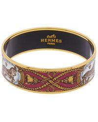 Hermès Gold-plated Printed Enamel Wide Bangle - Multicolour