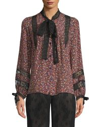 Anna Sui Woodland Flowers And Dot Mesh Blouse - Black