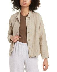 Eileen Fisher Classic Collar Linen Jacket - Brown