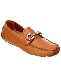 Ferragamo Parigi Gancio Bit Leather Driver - Brown