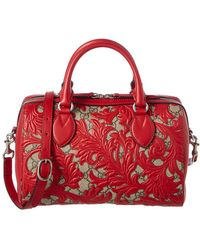 Gucci - Limited Edition Red Arabesque Leather Boston Bag - Lyst