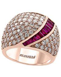 Effy - Fine Jewelry 14k Rose Gold 3.95 Ct. Tw. Diamond & Ruby Ring - Lyst
